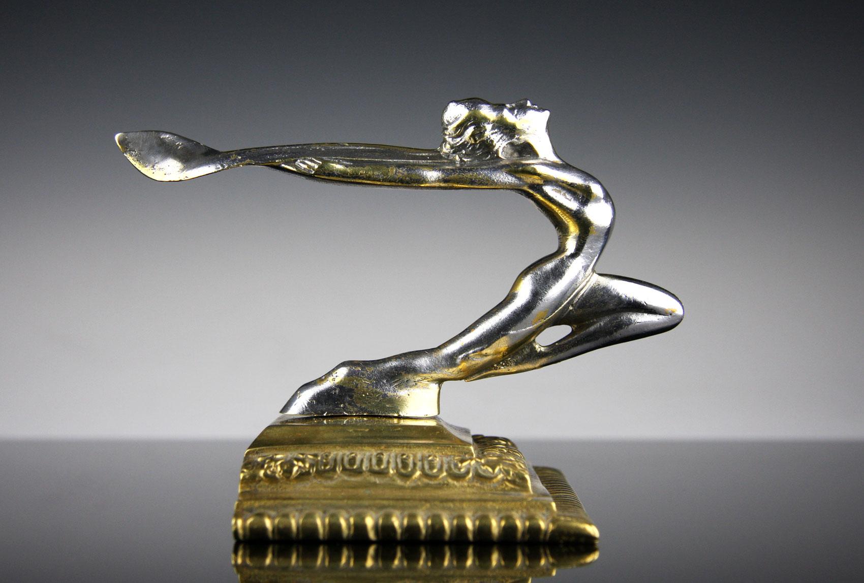 rare vintage art deco hood ornament car mascot 1930 bronze ebay. Black Bedroom Furniture Sets. Home Design Ideas